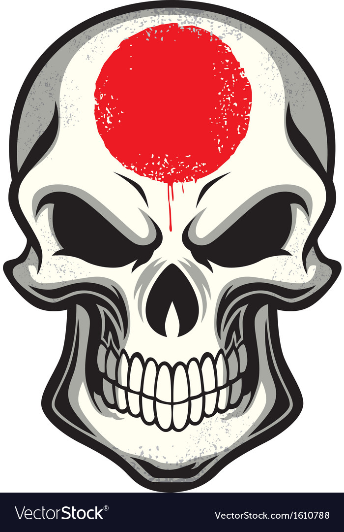 Japan flag painted on skull vector | Price: 1 Credit (USD $1)