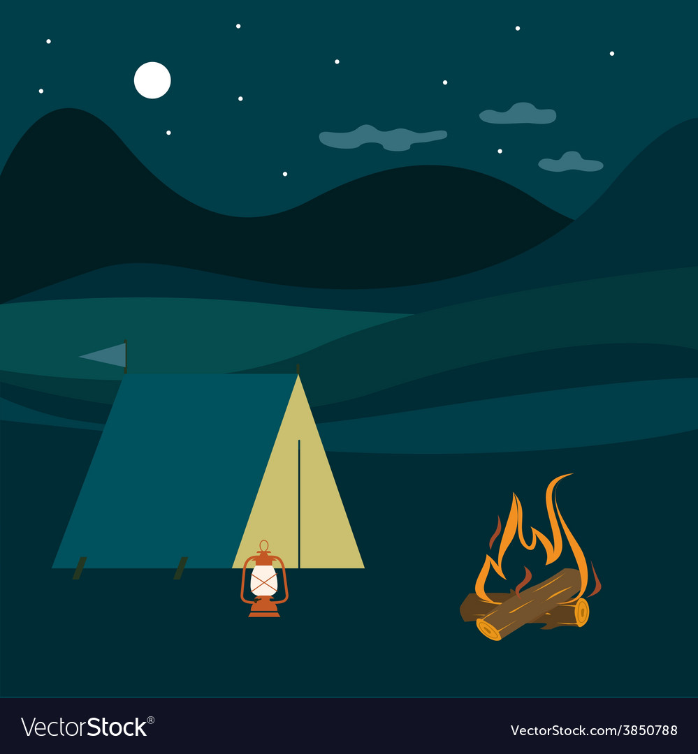 Night camping vector   Price: 1 Credit (USD $1)