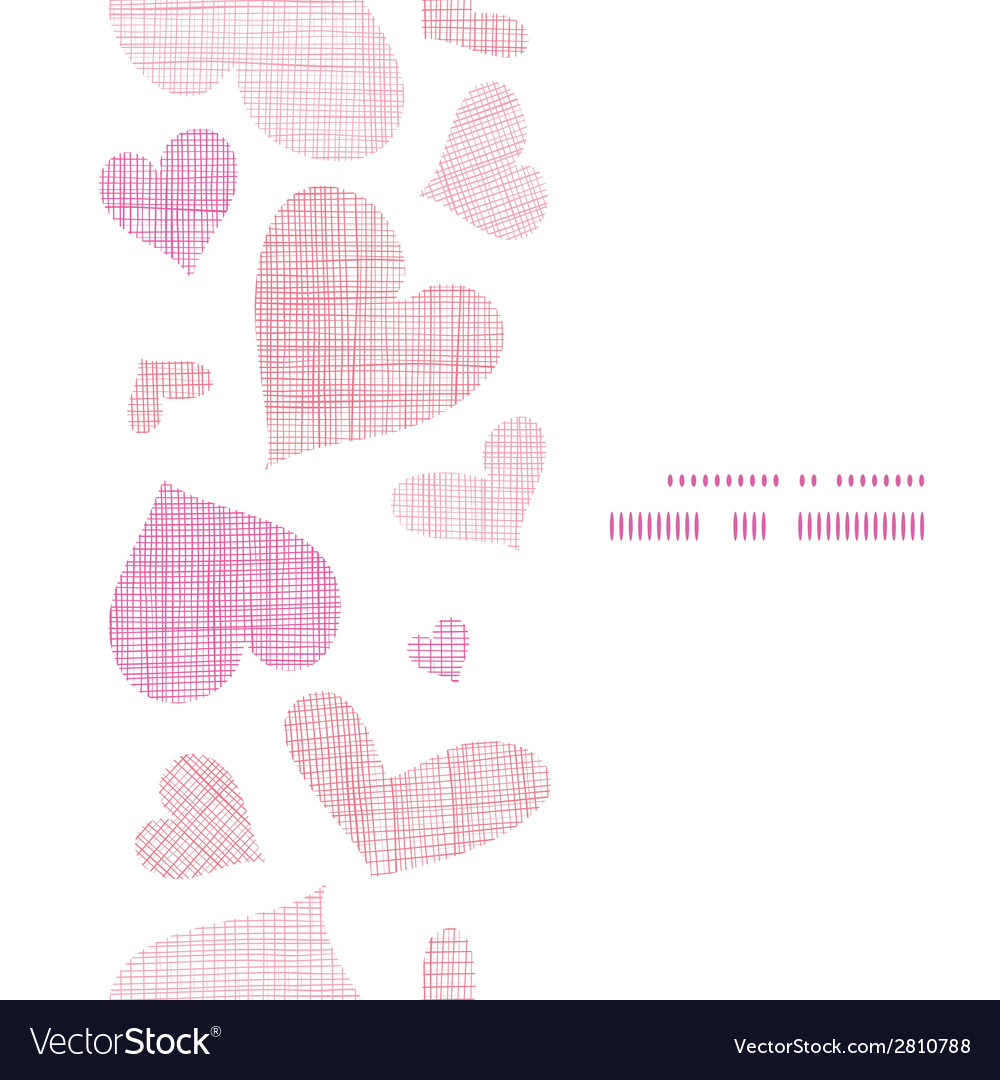 Pink textile hearts vertical frame seamless vector | Price: 1 Credit (USD $1)