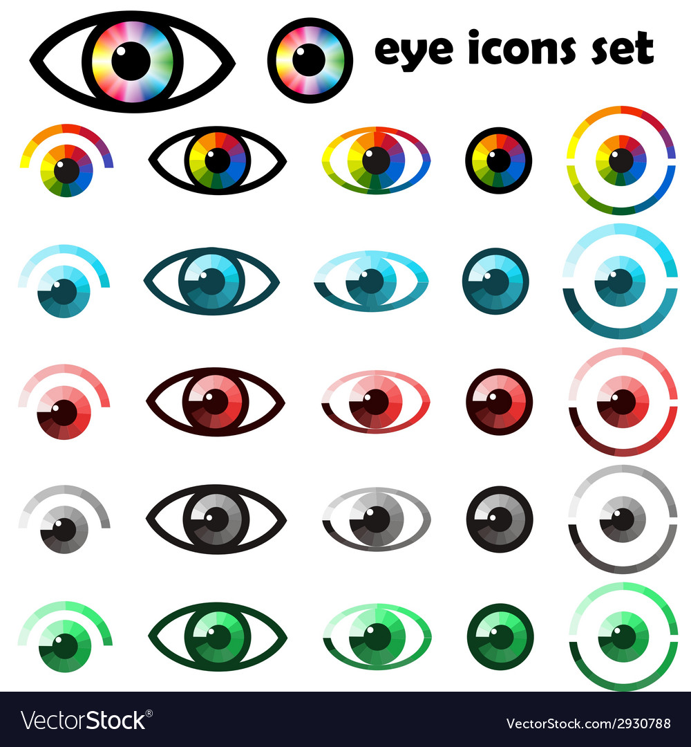 Set of eyes icons and symbols vector   Price: 1 Credit (USD $1)