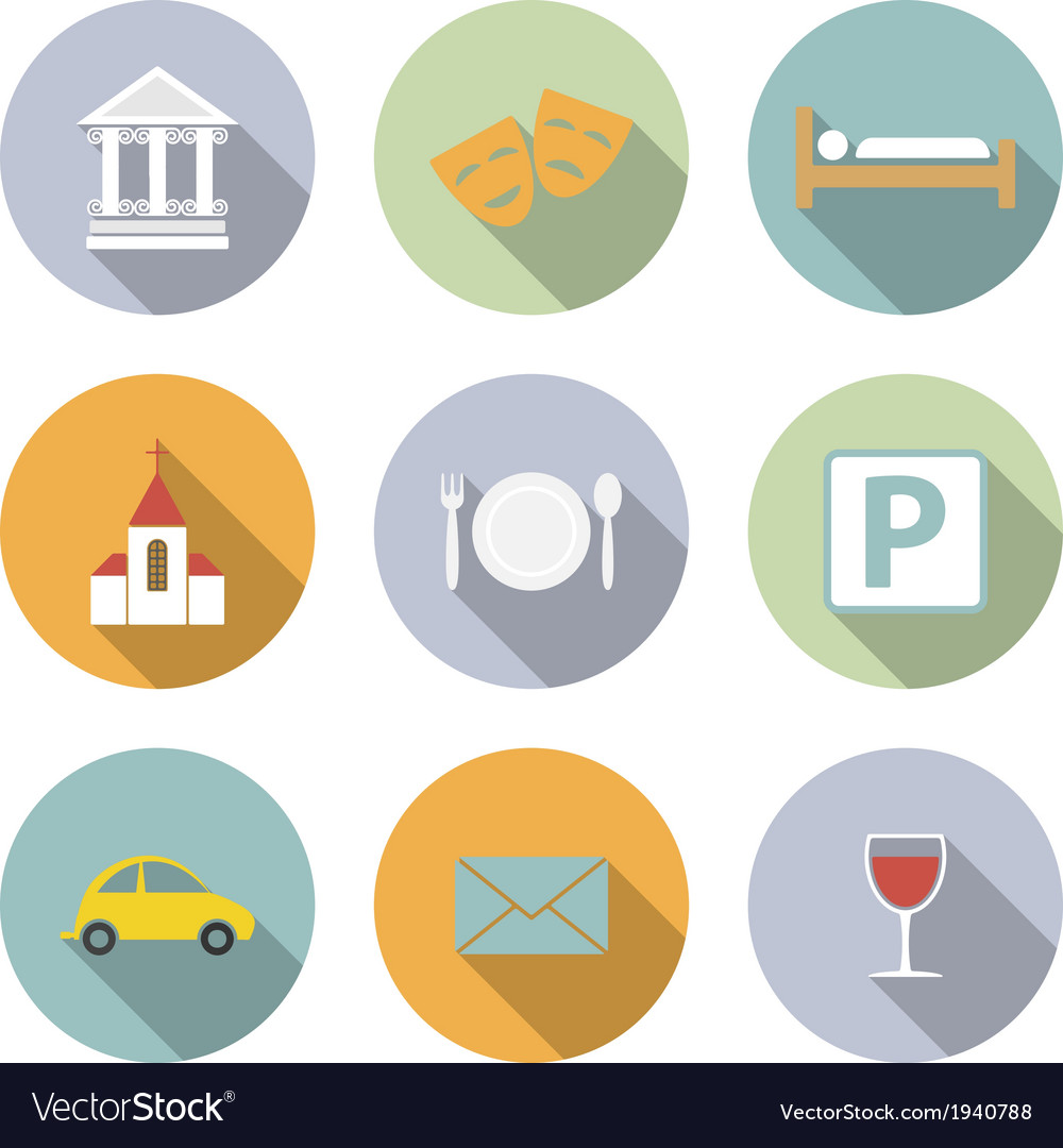 Travel flat icons vector | Price: 1 Credit (USD $1)