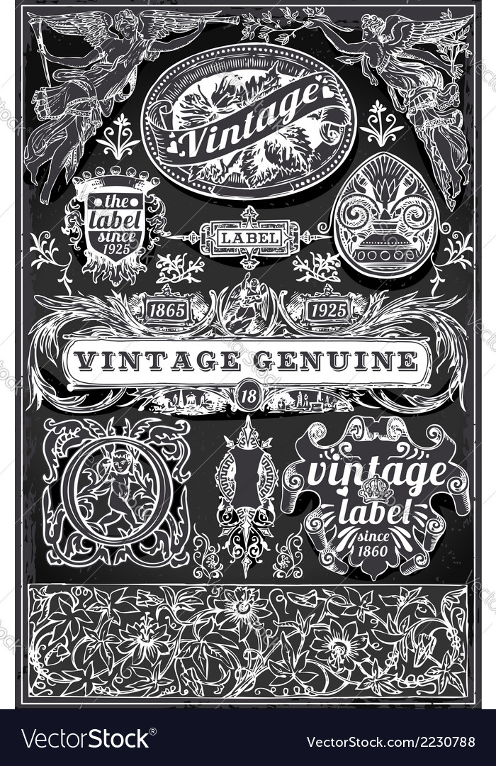 Vintage retro labels on blackboard vector | Price: 1 Credit (USD $1)
