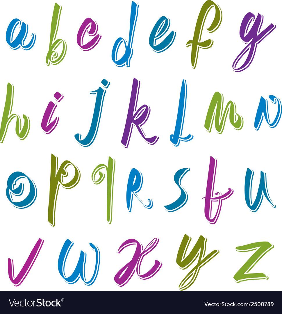 Calligraphic script font alphabet letters vector | Price: 1 Credit (USD $1)