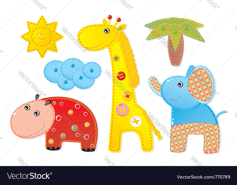 Children africa animals vector | Price: 1 Credit (USD $1)