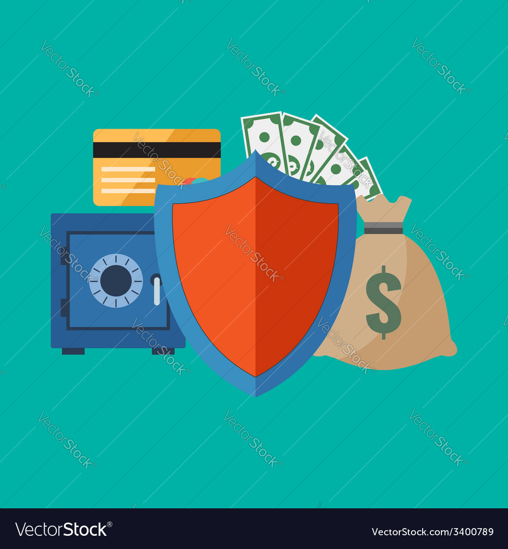 Financial security concept flat design stylish vector | Price: 1 Credit (USD $1)