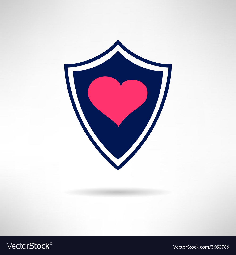 Heart and love shield icon health defence concept vector | Price: 1 Credit (USD $1)