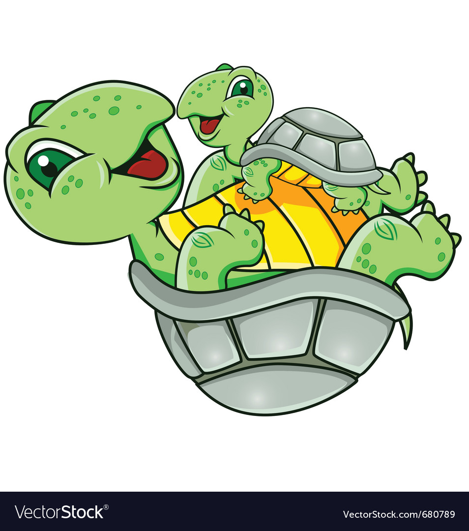 Mother and baby turtle vector | Price: 1 Credit (USD $1)