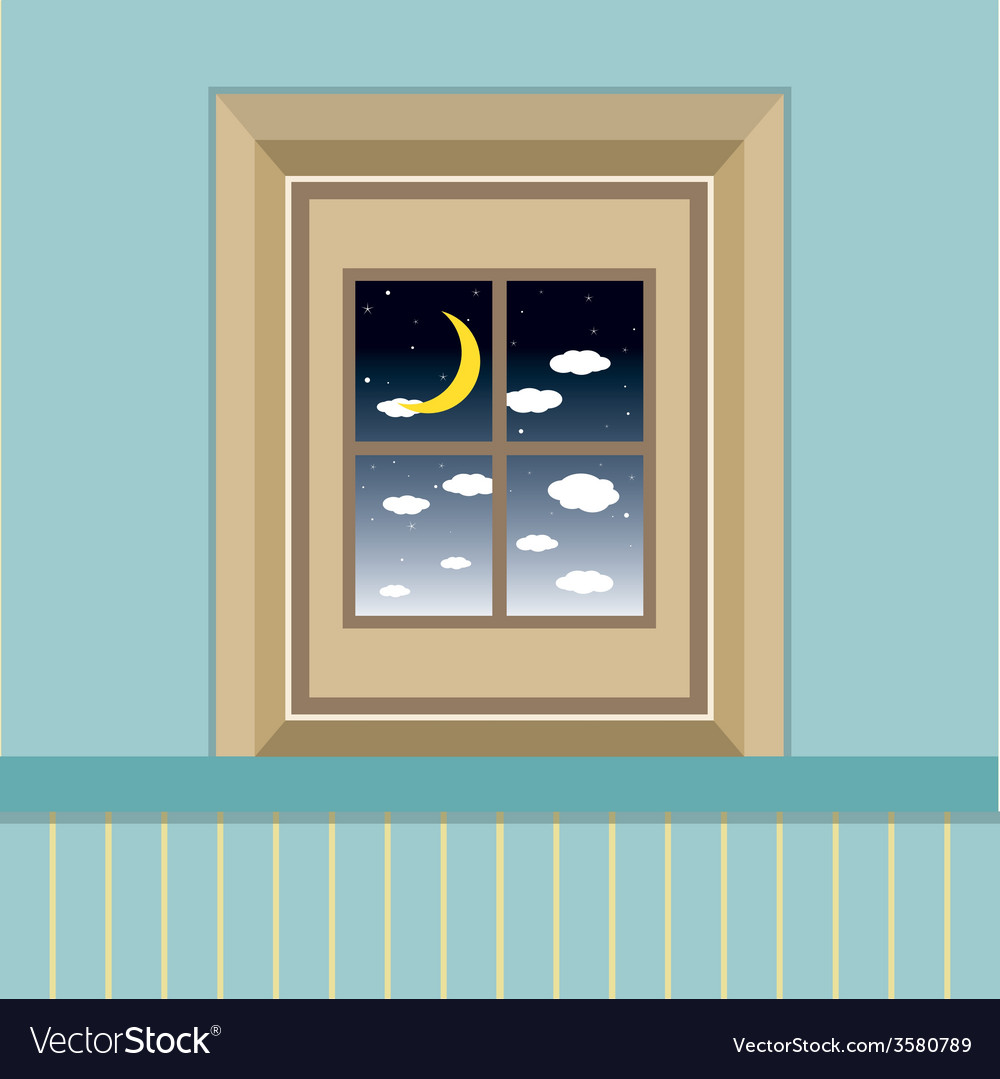 Night sky view through the window vector | Price: 1 Credit (USD $1)