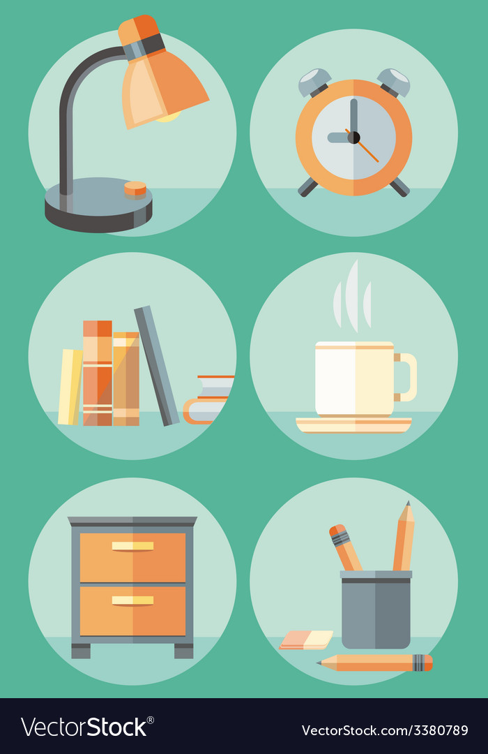 Office objects and elements of workplace icon set vector | Price: 1 Credit (USD $1)