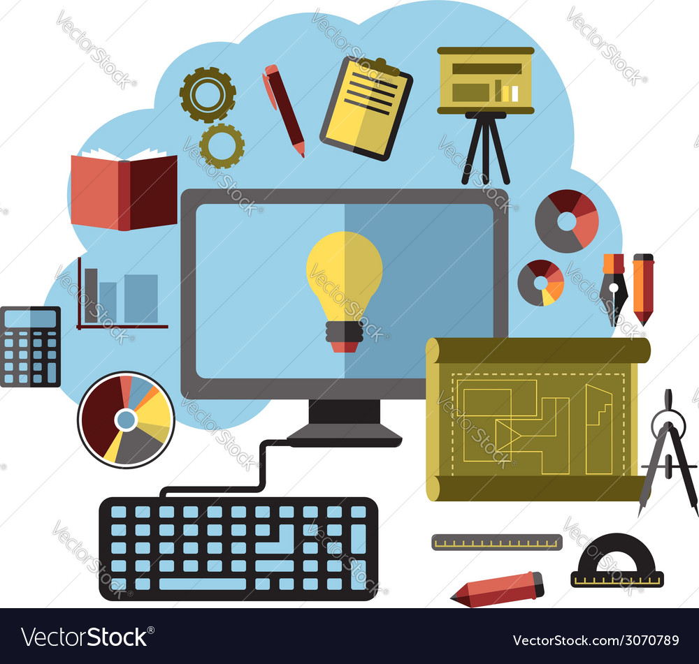 Online ideas inspiration and research flat concept vector | Price: 1 Credit (USD $1)