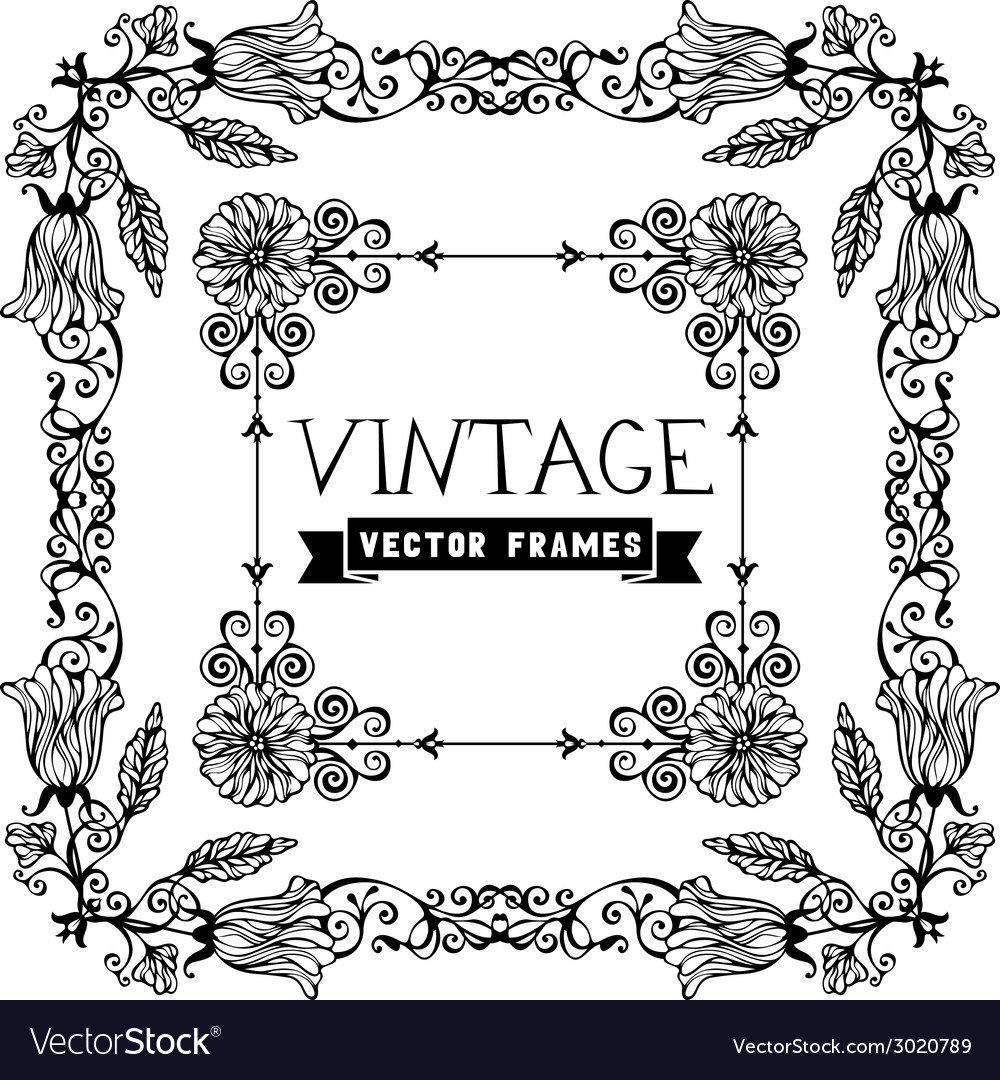 Set of flourish vintage frames vector | Price: 1 Credit (USD $1)