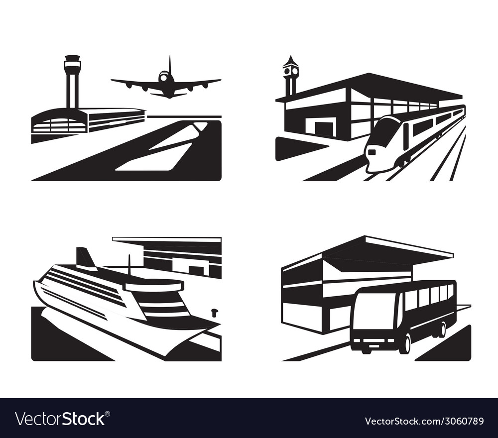 Transport stations with vehicles in perspective vector | Price: 1 Credit (USD $1)