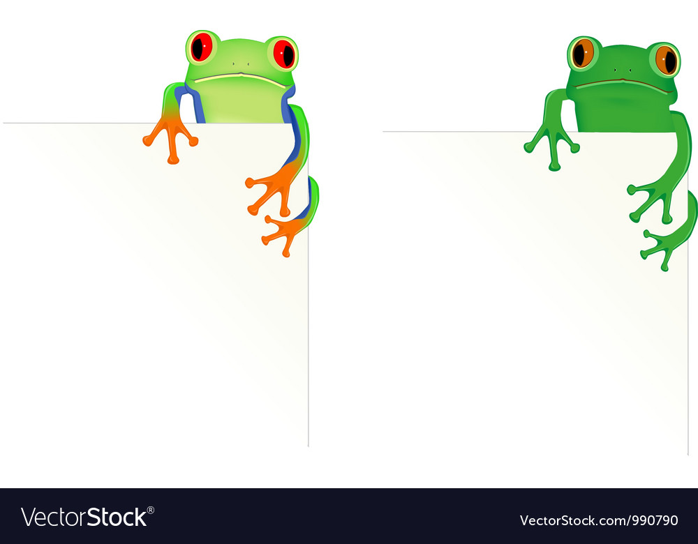 2 frogs in corner of page vector | Price: 1 Credit (USD $1)