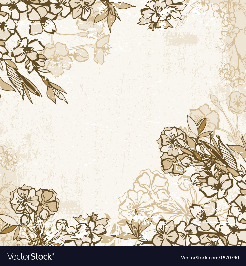 Background frame with blossoming cherry or sakura vector | Price: 1 Credit (USD $1)
