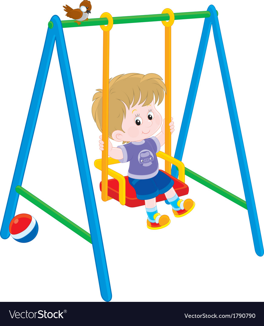 Boy on a swing vector | Price: 1 Credit (USD $1)