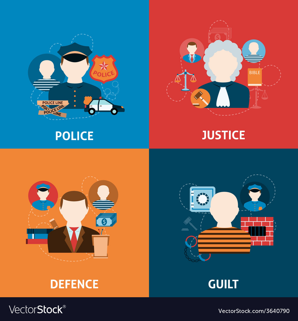 Crime and punishments flat icons composition vector | Price: 1 Credit (USD $1)