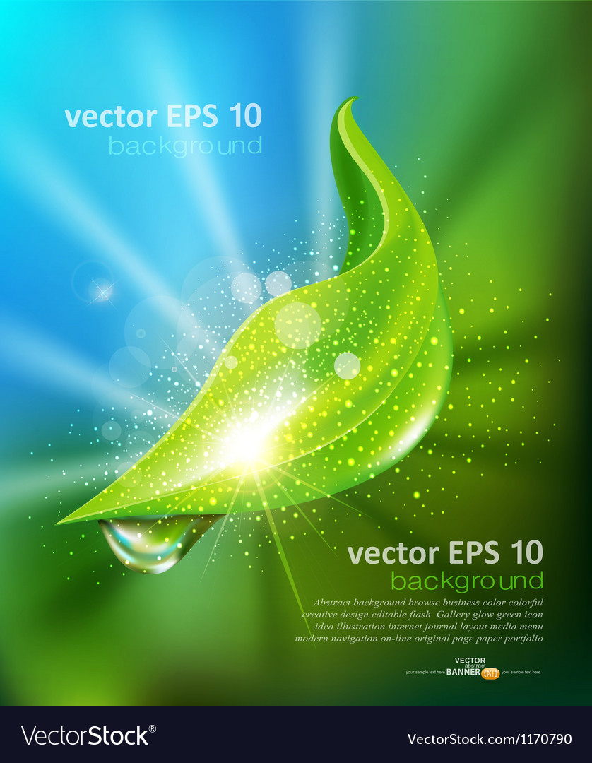 Green leaf and a drop of dew vector | Price: 3 Credit (USD $3)