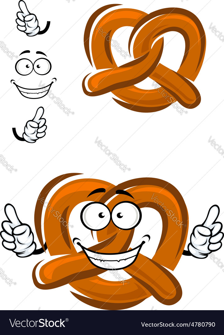Happy cartoon bavarian crispy pretzel vector | Price: 1 Credit (USD $1)