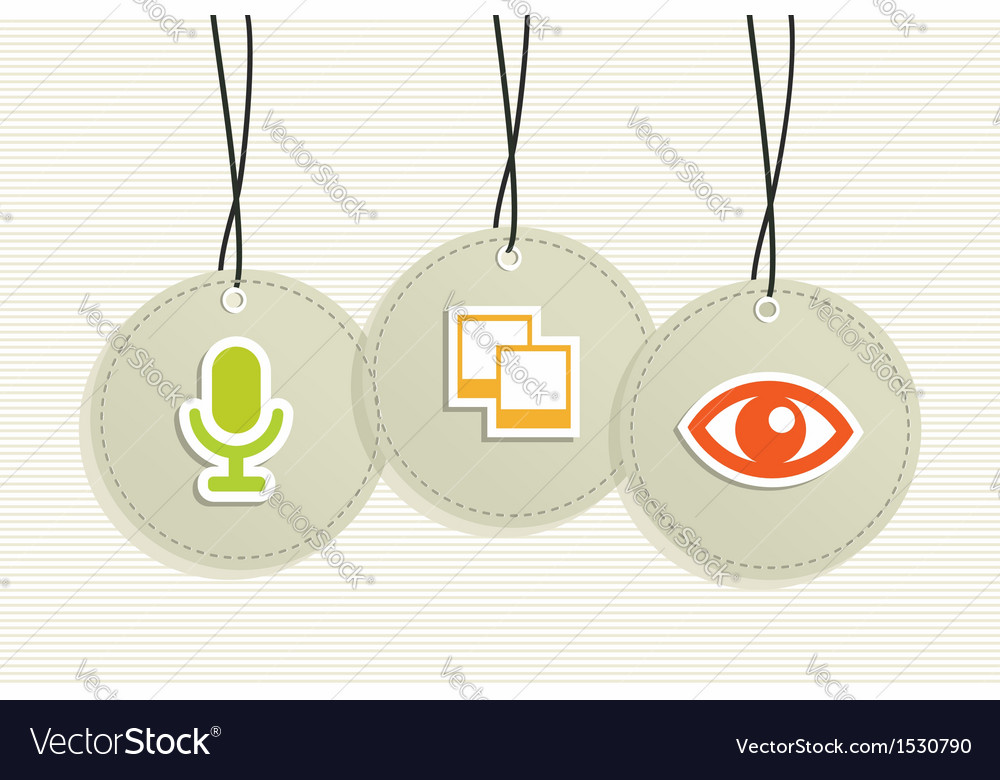 Multimedia hang tags vector | Price: 1 Credit (USD $1)