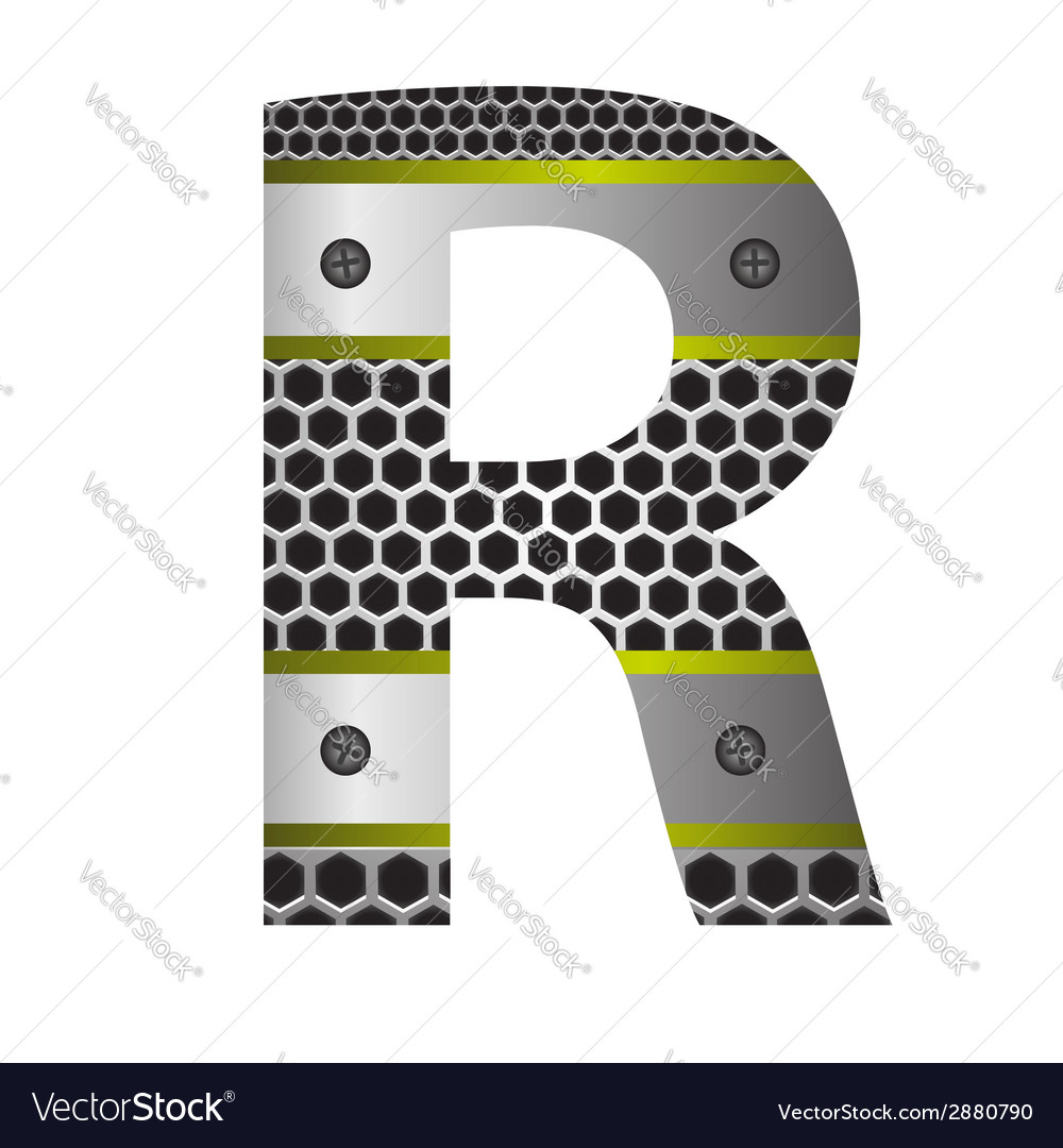 Perforated metal letter r vector | Price: 1 Credit (USD $1)