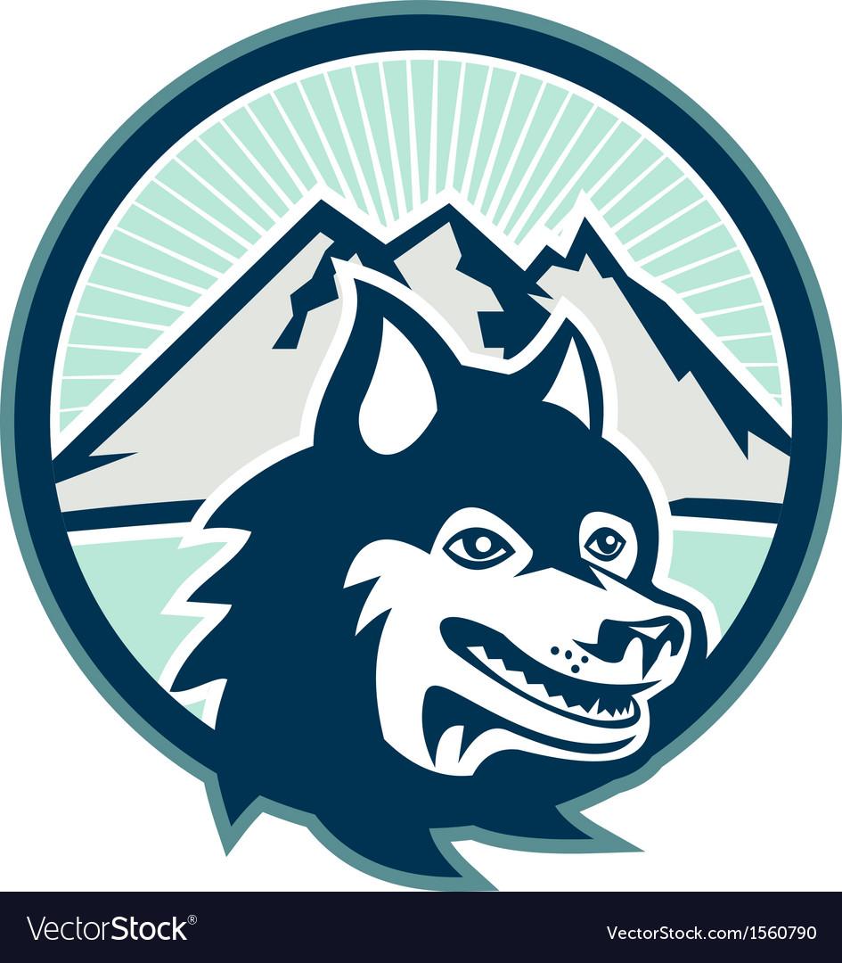 Siberian husky dog head mountain retro vector | Price: 1 Credit (USD $1)