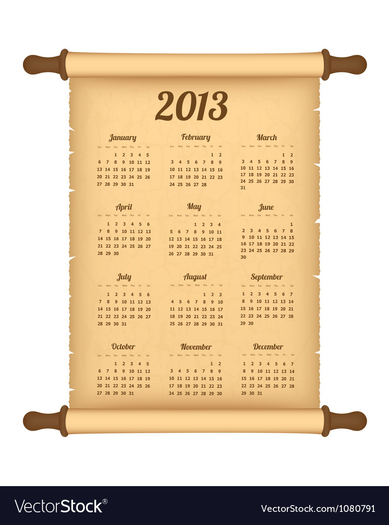2013 calendar on parchment roll vector | Price: 1 Credit (USD $1)