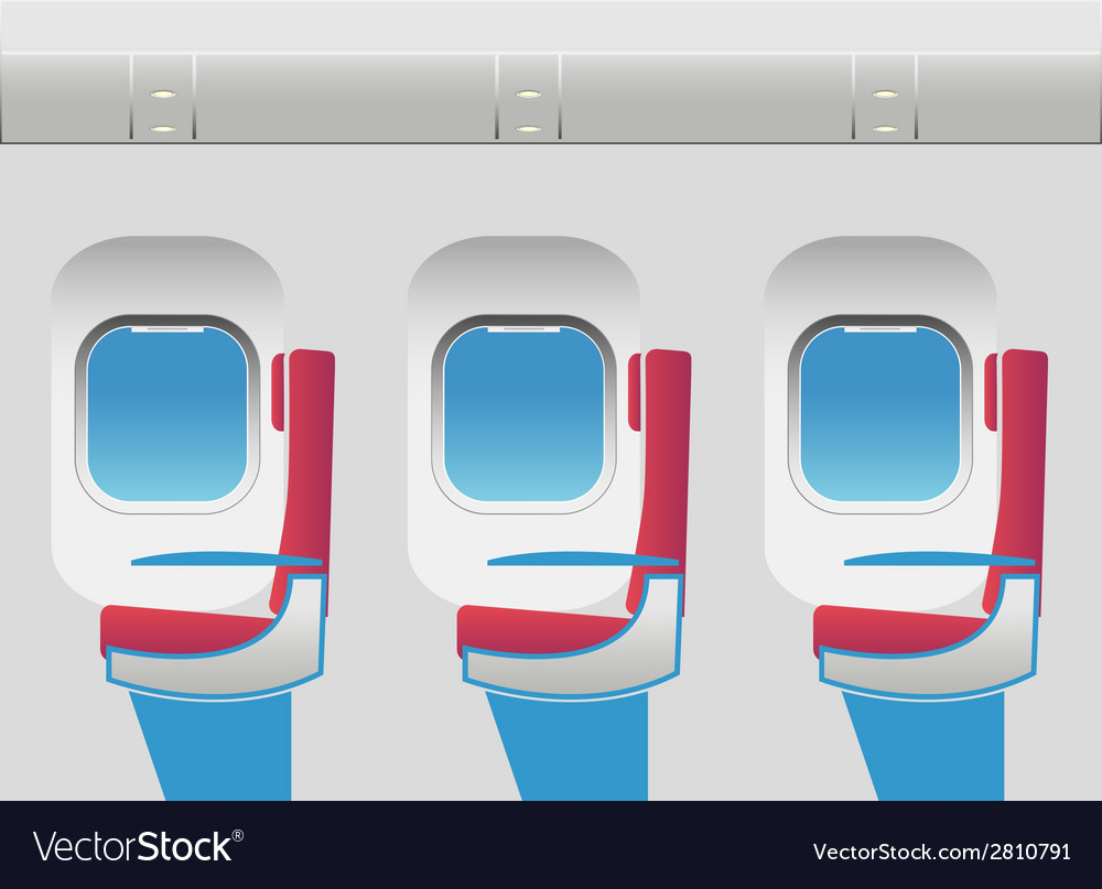 Aircraft cabin with portholes and seats vector | Price: 1 Credit (USD $1)