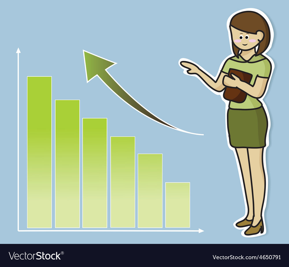 Business woman and growing graph vector | Price: 1 Credit (USD $1)