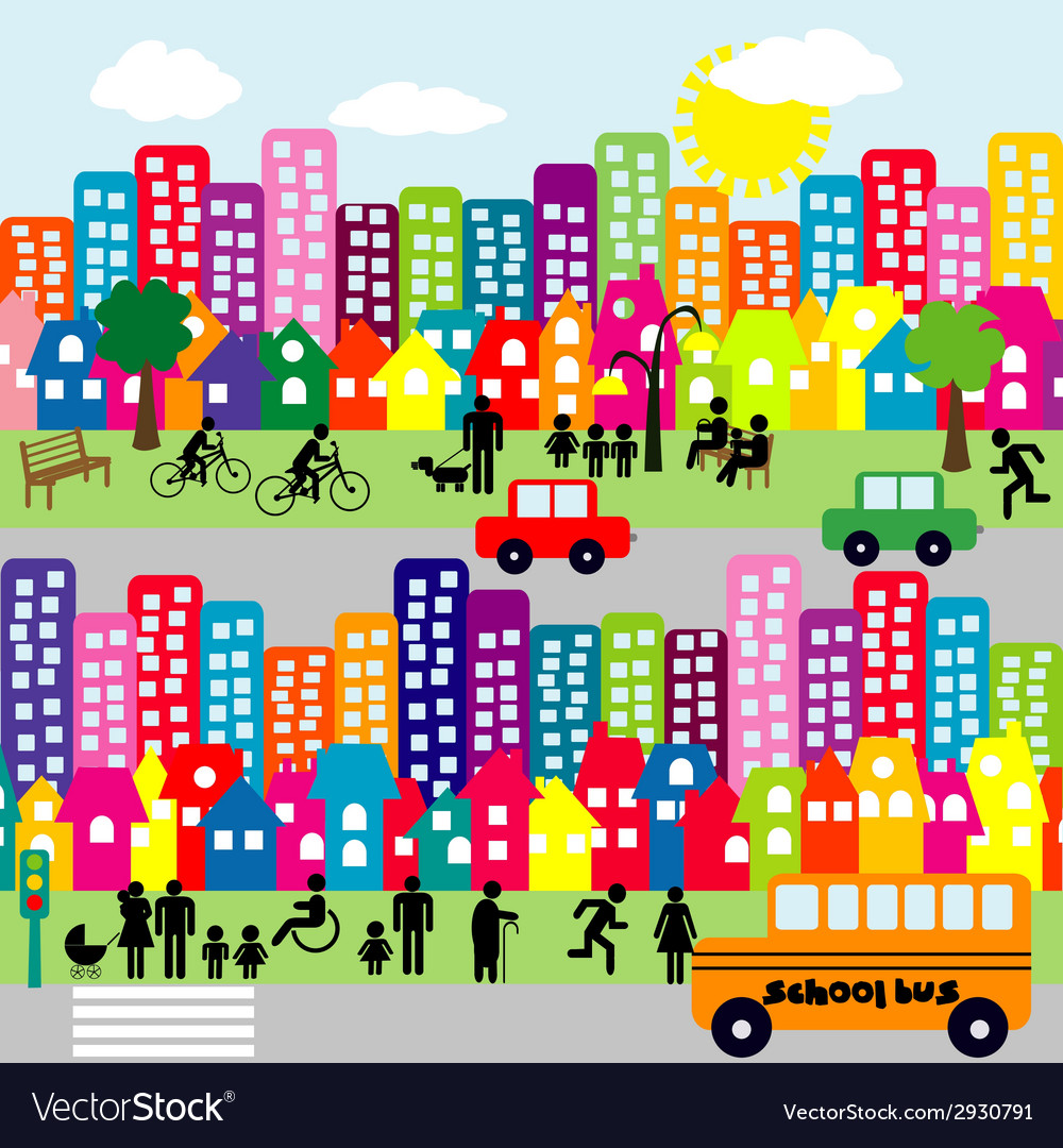 Cartoon city with people pictograms vector | Price: 1 Credit (USD $1)