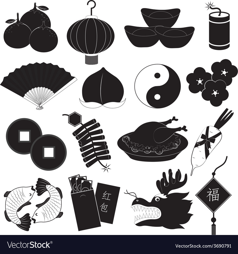 Chinese new year icons set vector | Price: 1 Credit (USD $1)
