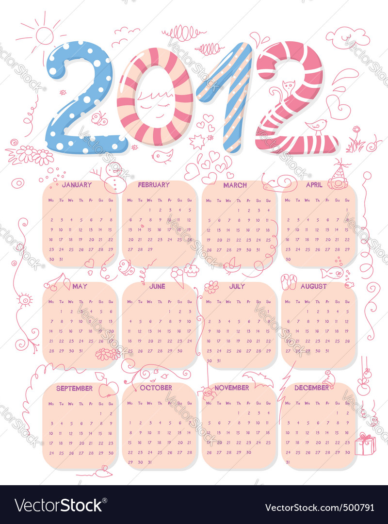 Cute 2012 calendar vector | Price: 1 Credit (USD $1)