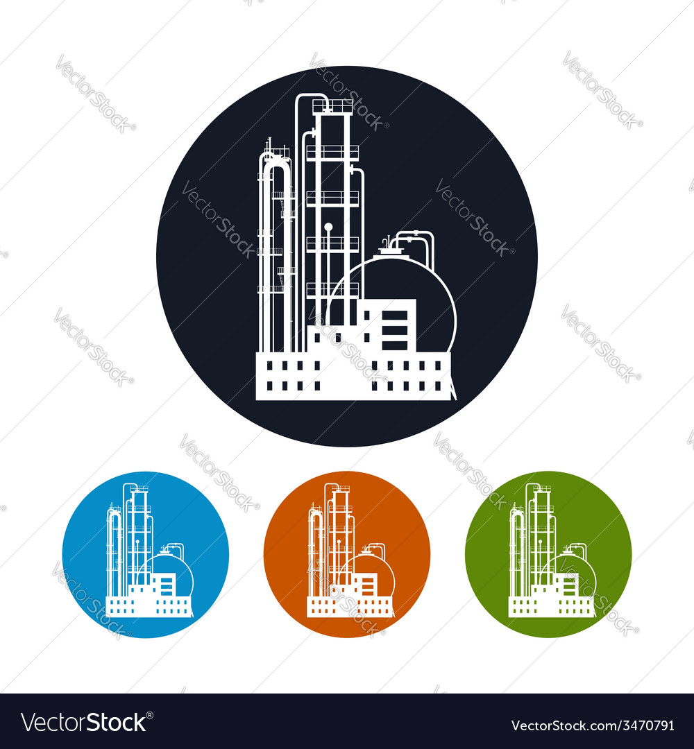 Icon of a chemical plant or refinery processing vector   Price: 1 Credit (USD $1)