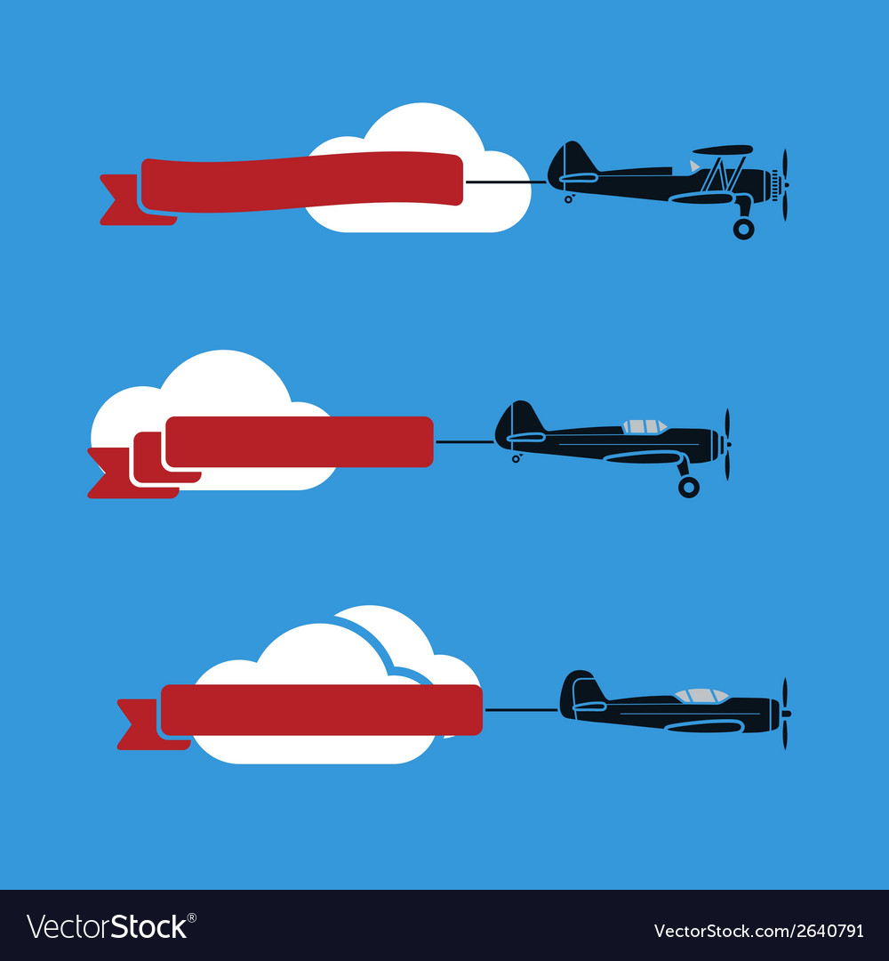 Planes with ribbons vector