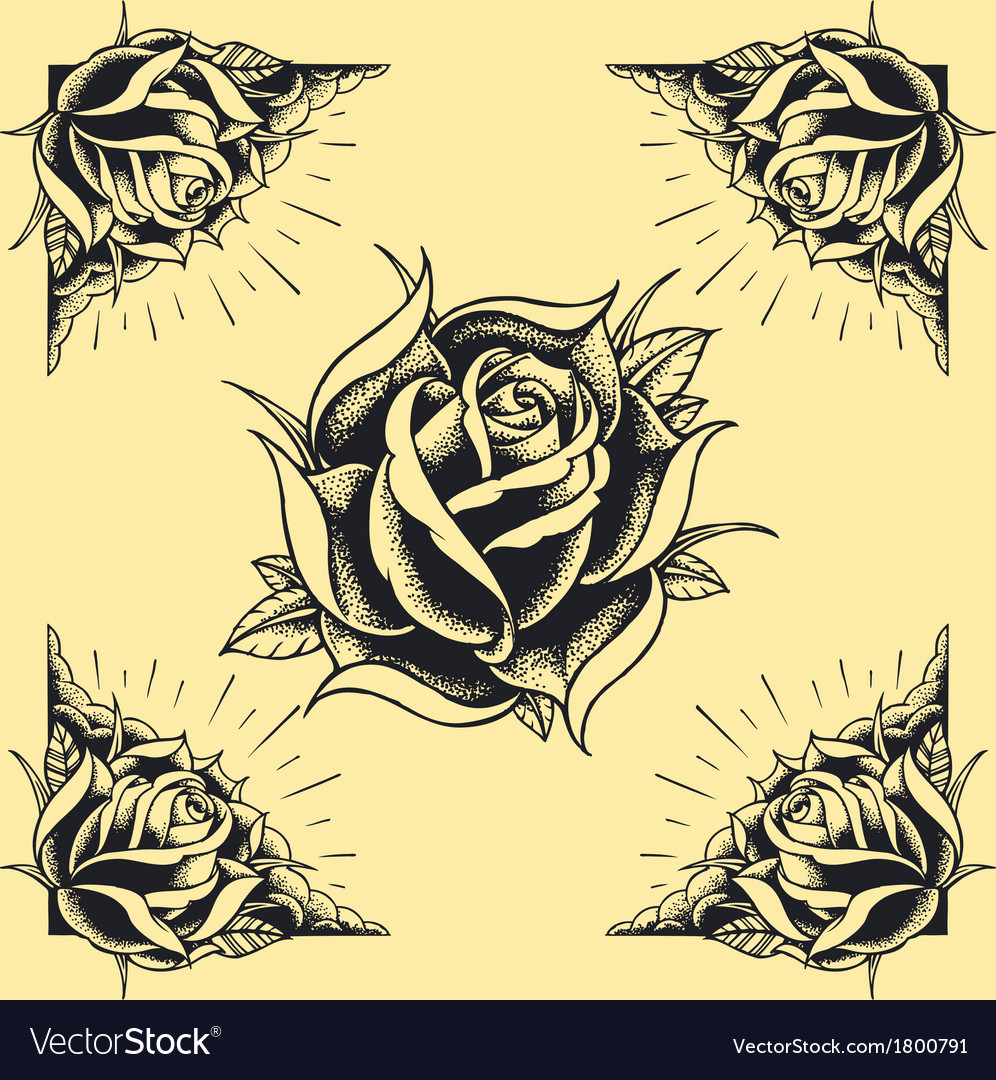 Roses and frame tattoo style design vector | Price: 1 Credit (USD $1)