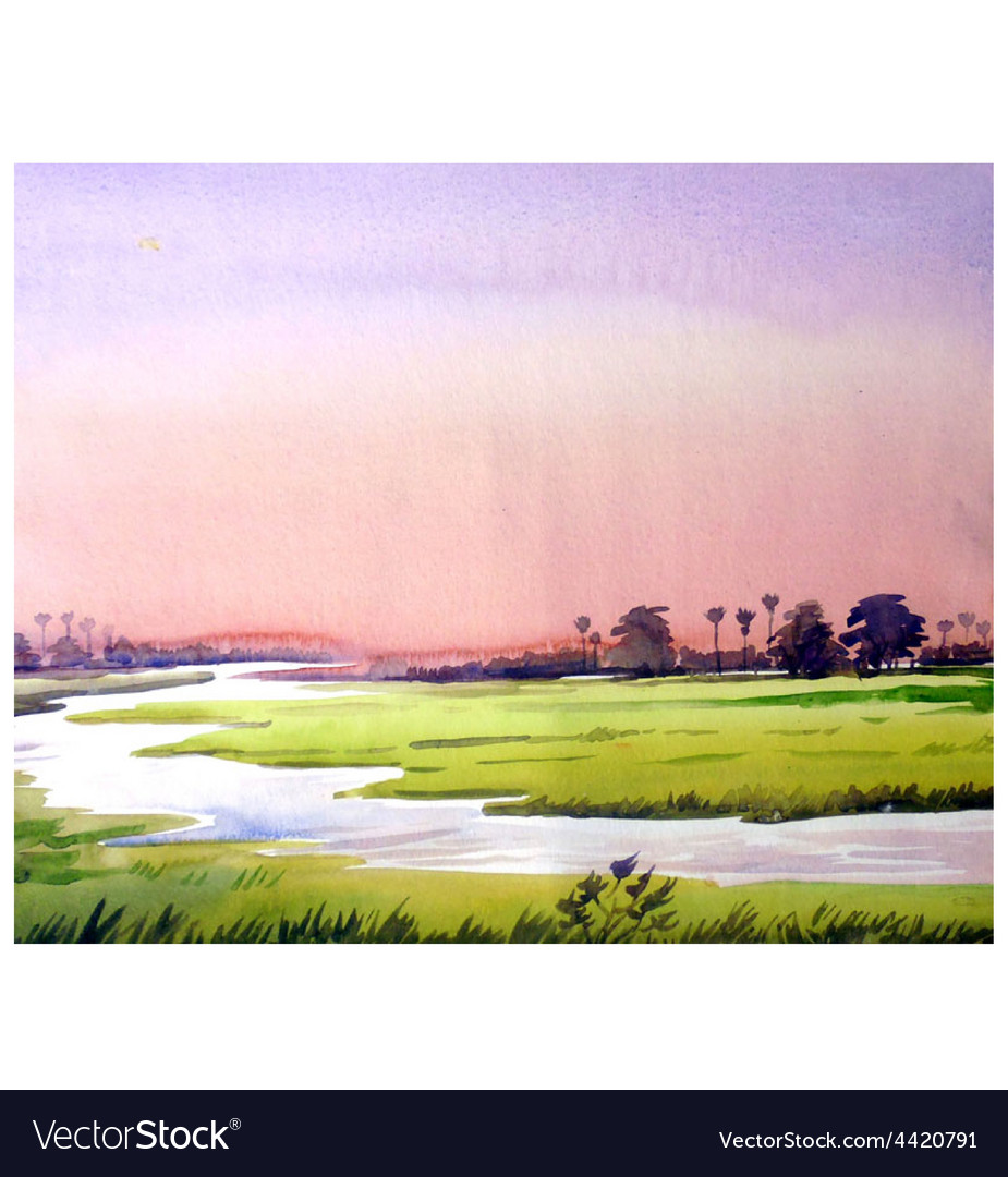 Rural sunset watercolor painting verson vector | Price: 1 Credit (USD $1)