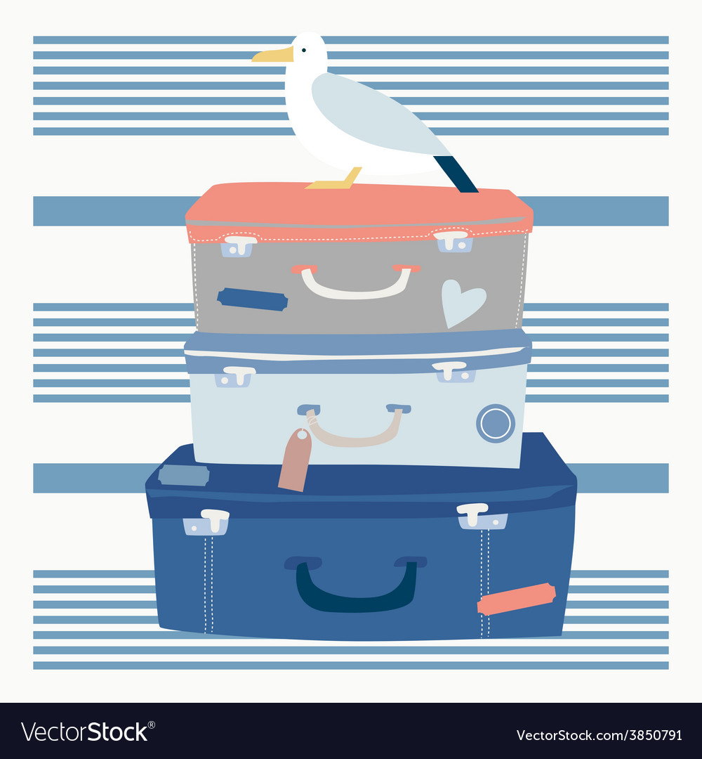 Sea voyage suitcases and seagull vector | Price: 1 Credit (USD $1)