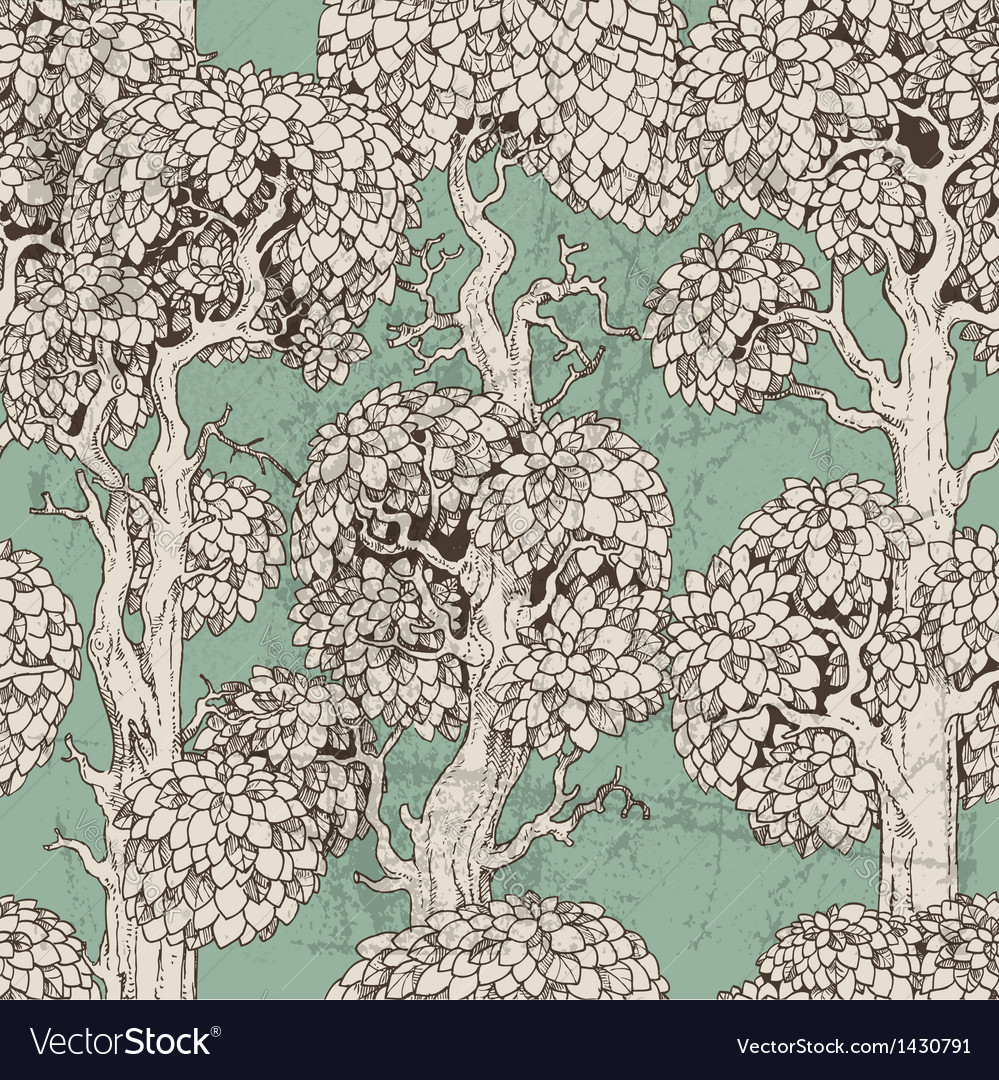 Seamless pattern of dark enchanted old trees vector | Price: 1 Credit (USD $1)