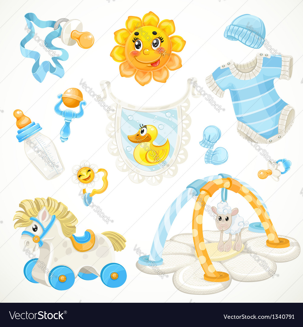 Set of blue baby toys objects clothes and things vector | Price: 1 Credit (USD $1)