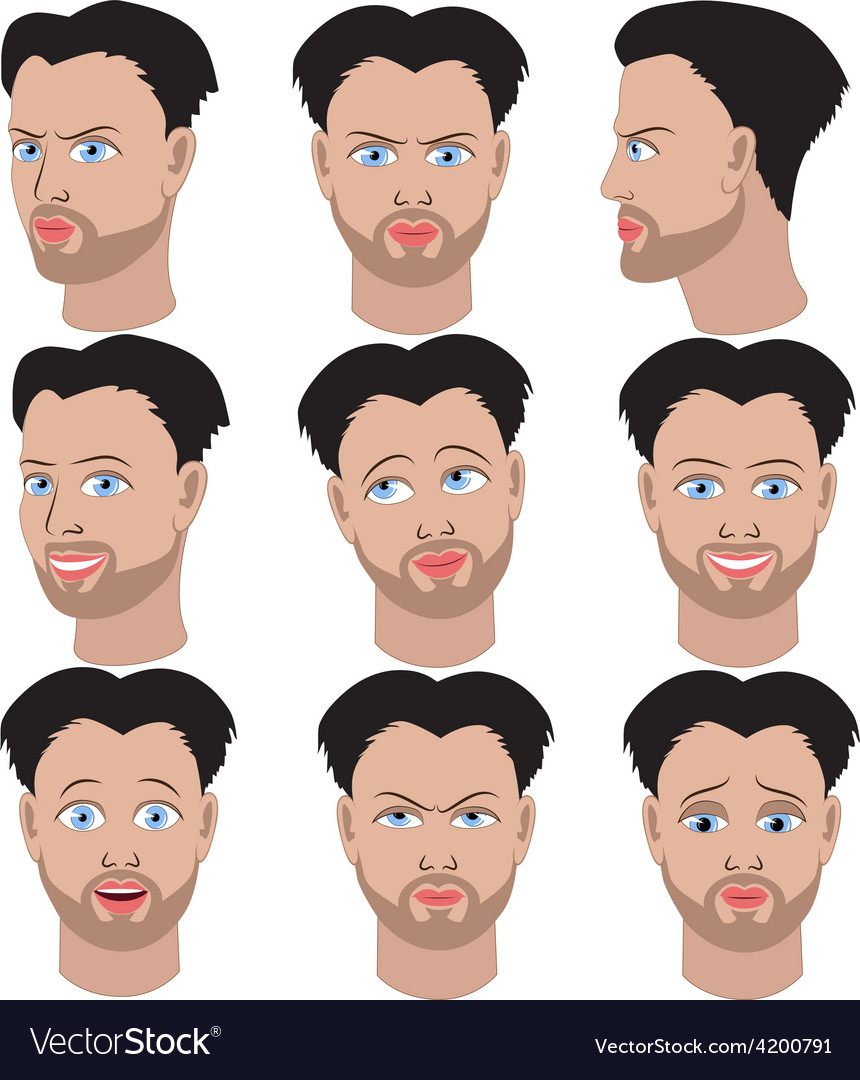 Set of variation of emotions of the same man vector | Price: 1 Credit (USD $1)