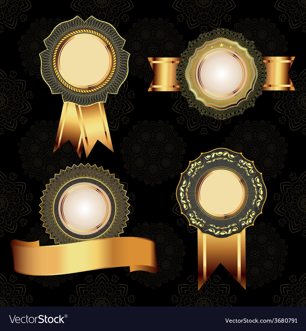 Set of vintage golden design elements vector | Price: 1 Credit (USD $1)