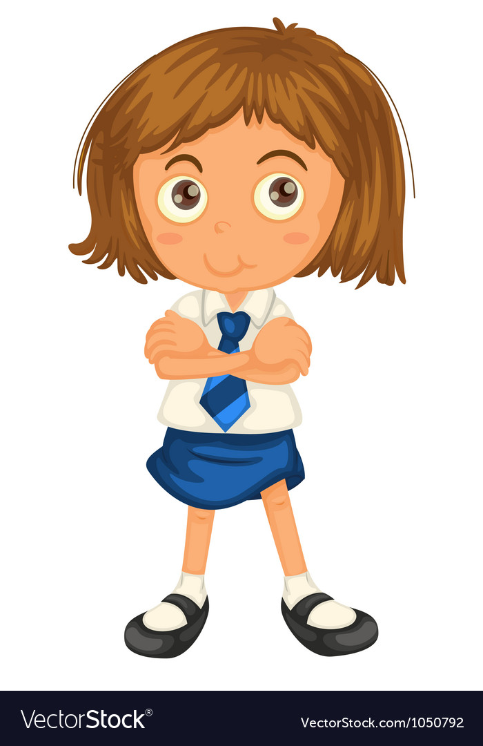 A girl in school uniform vector | Price: 1 Credit (USD $1)