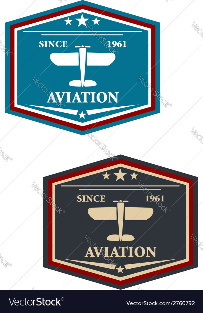 Aviation symbol or insignia with airplane vector | Price: 1 Credit (USD $1)