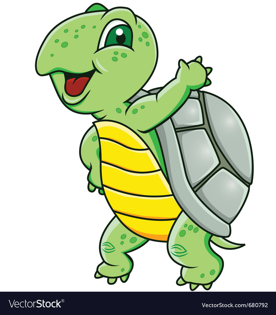 Funny green turtle vector | Price: 1 Credit (USD $1)