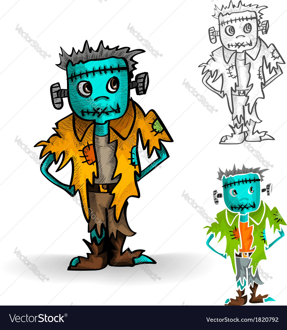 Halloween monsters isolated spooky zombie man set vector | Price: 1 Credit (USD $1)