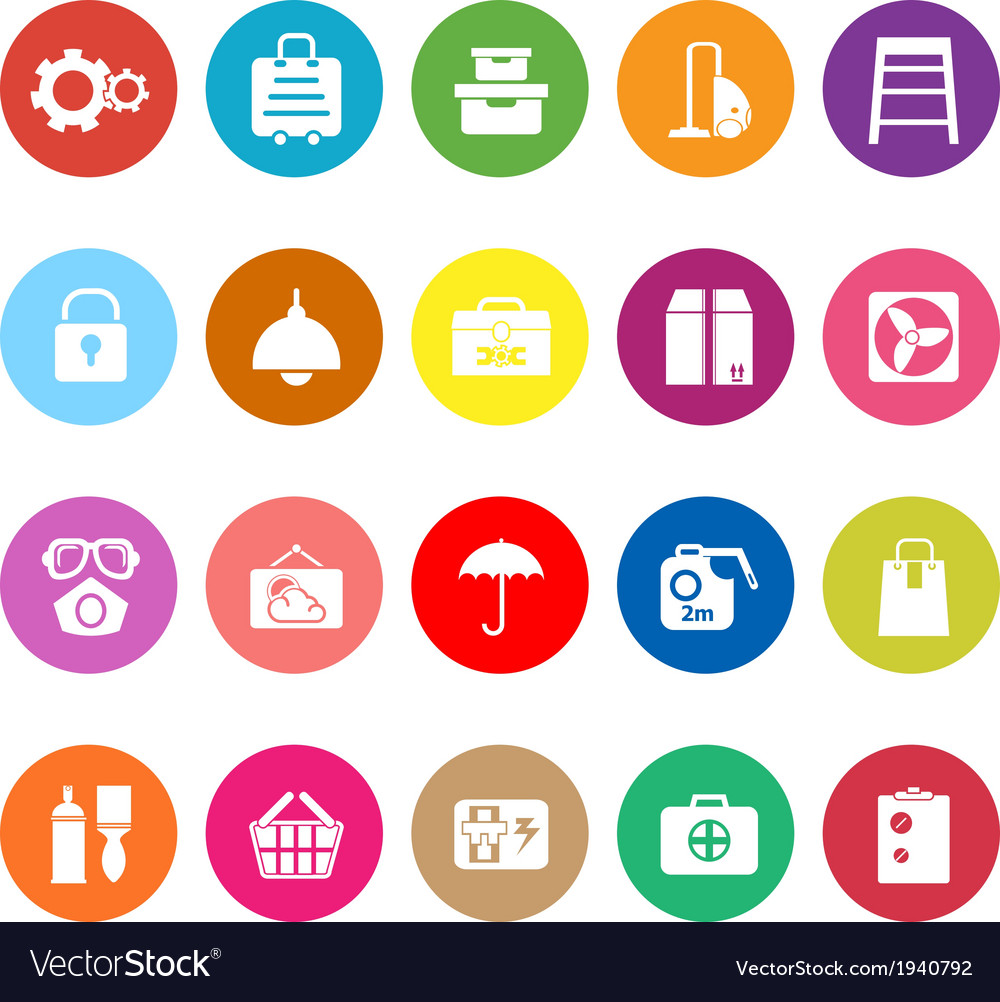 Home storage flat icons on white background vector | Price: 1 Credit (USD $1)