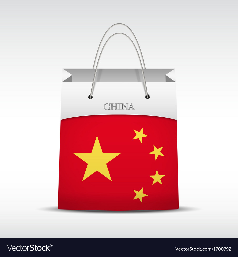 Shopping bag with china flag vector | Price: 1 Credit (USD $1)
