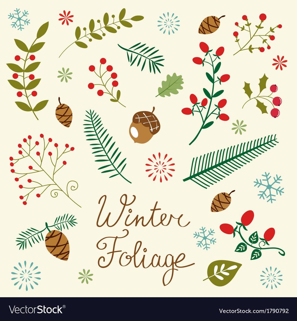 Winter foliage set vector | Price: 1 Credit (USD $1)