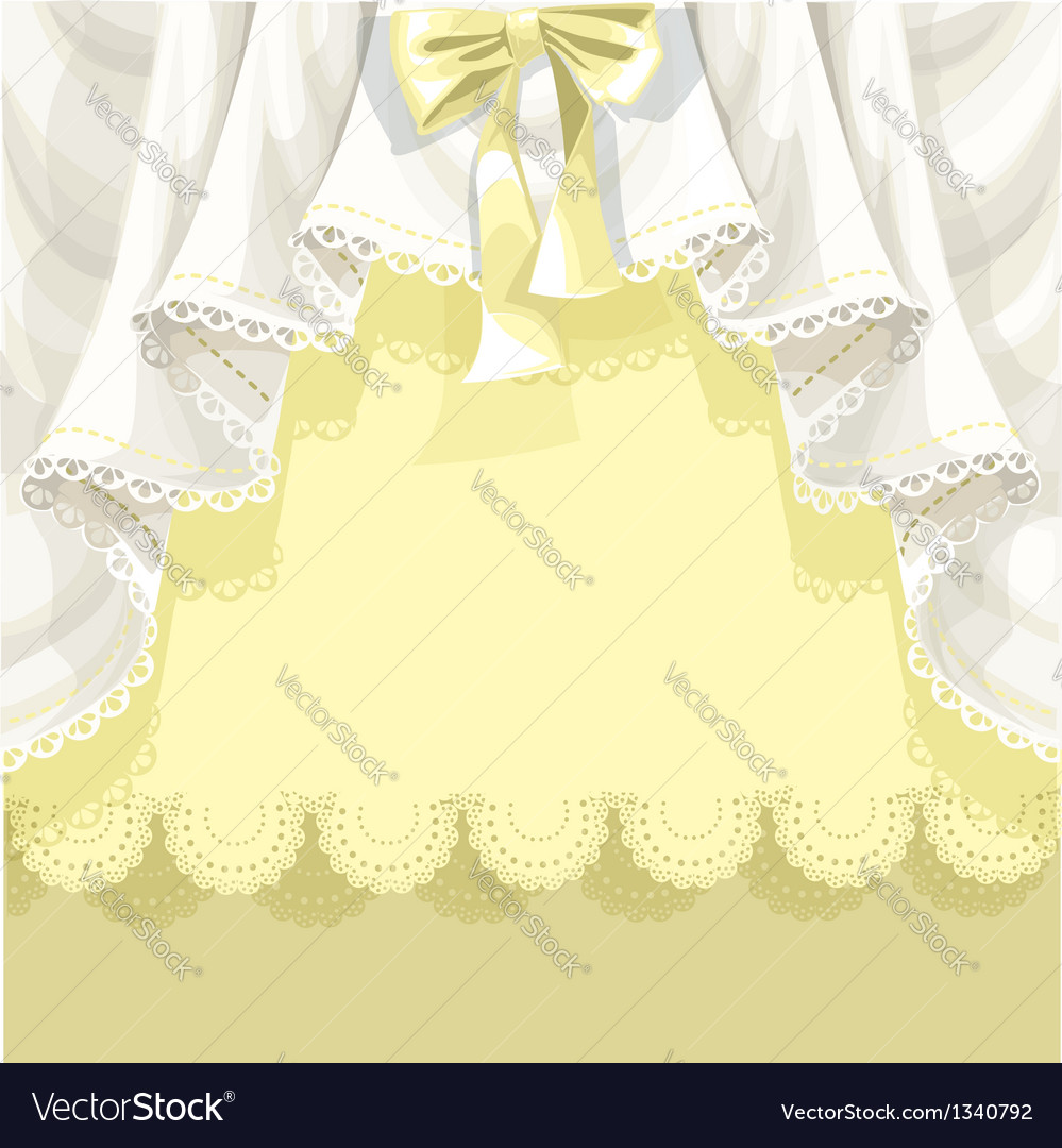 Yellow background with lace curtains and bow vector | Price: 1 Credit (USD $1)