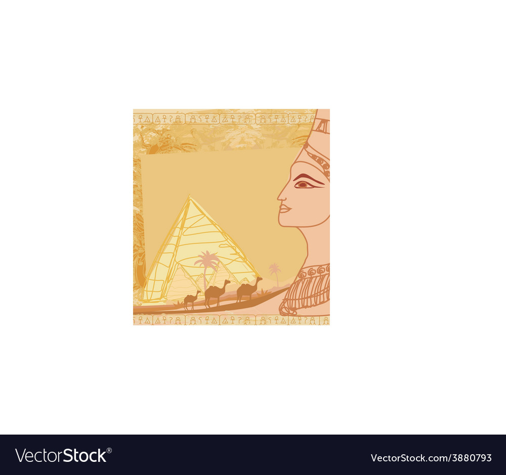Grunge frame with egyptian queen vector | Price: 1 Credit (USD $1)