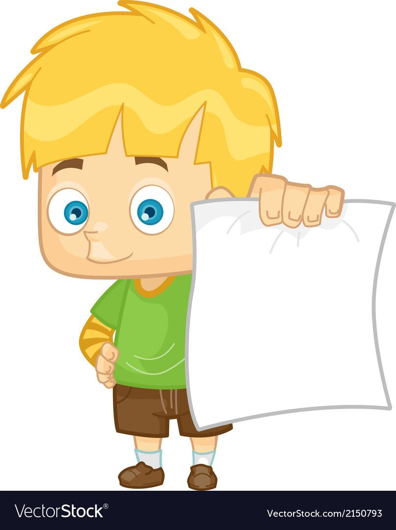 Kid boy school test paper vector | Price: 1 Credit (USD $1)